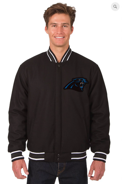 Carolina Panthers Reversible Wool Varsity Jacket With Back Logo