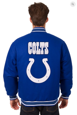 Indianapolis Colts Reversible Wool Varsity Jacket With Back Logo