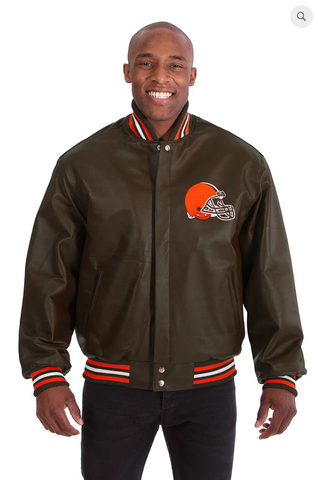Cleveland Browns Hand Crafted Leather Solid Team Jacket