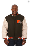 Cleveland Browns Wool and Leather Varsity Jacket with Back Logo