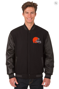 Cleveland Brown Reversible Wool & Leather Varsity Jacket