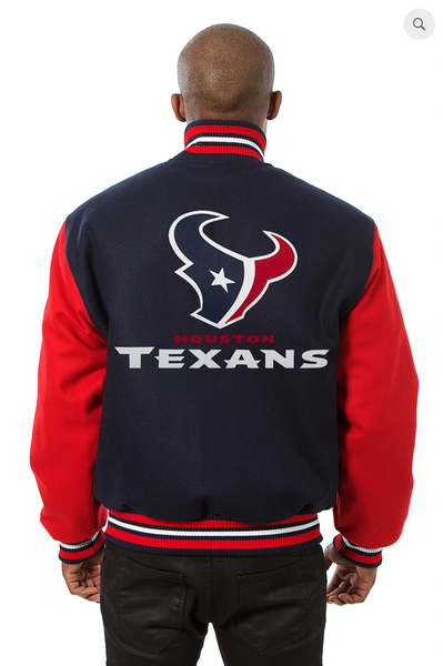 Houston Texans All Wool Two-Toned Jacket with Back Logo