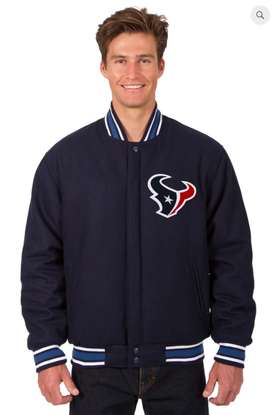 Houston Texans Reversible Wool Varsity Jacket With Back Logo