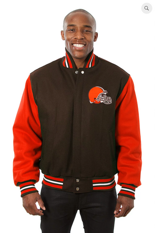 Cleveland Browns All Wool Two Toned Jacket with Back Logos