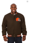 Cleveland Browns All Wool Solid Team Jacket with Back Logo