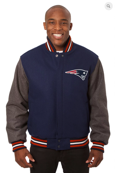 New England Patriots All Wool Two-Toned Jacket with Back Logo