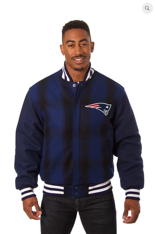 New England Patriots All Wool Plaid Jackets with Back Logo