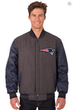 New England Patriots Reversible Wool and Leather Varsity Jacket with Back Logo