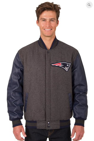 New England Patriots Reversible Wool & Leather Varsity Jacket