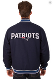 New England Patriots Reversible Wool Varsity Jacket With Back Logo