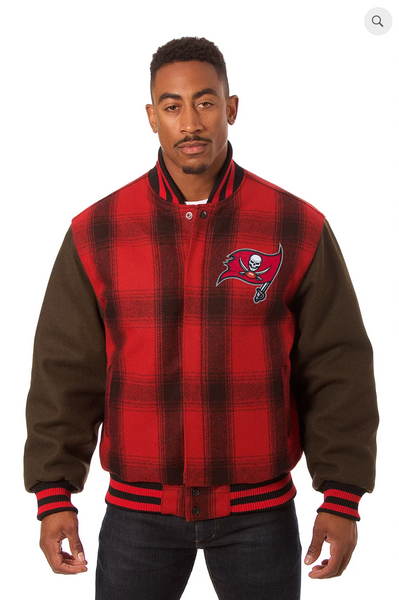 Tampa Bay Buccaneers All Wool Plaid Jacket with Back Logo