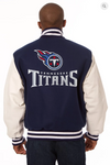 Tennessee Titans Wool and Leather Varsity Jacket with Back Logo