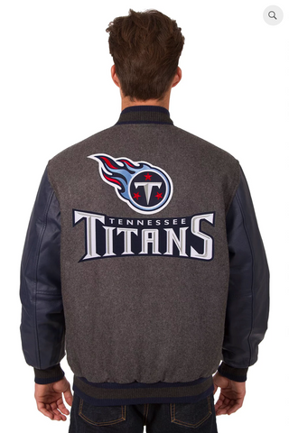 Tennessee Titans Reversible Wool and Leather Varsity Jacket with Back Logo