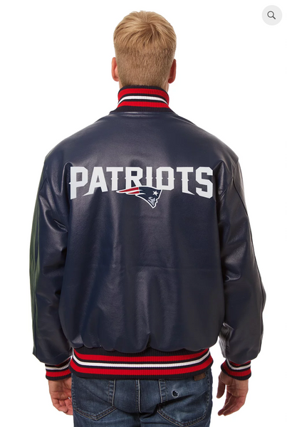 New England Patriots Hand Crafted Leather Solid Team Jacket