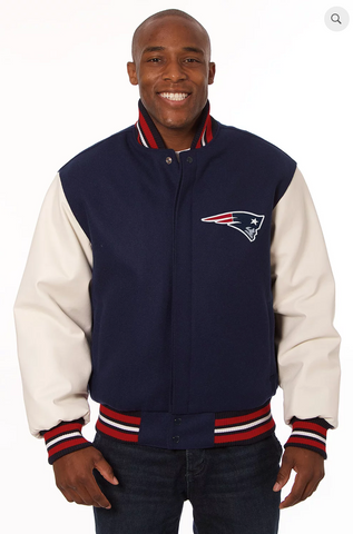 New England Patriots Wool and Leather Varsity Jacket