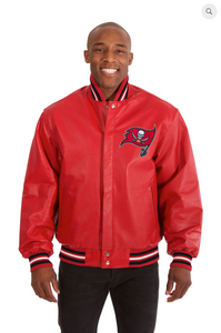 Tampa Bay Buccaneers Hand Crafted Leather Solid Team Jacket