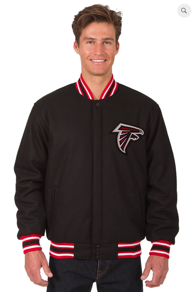 Atlanta Falcons Reversible Wool Varsity Jacket With Back Logo & Red Trimming