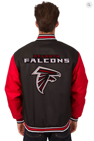 Atlanta Falcons Poly-Twill Varsity Jacket with Front & Back Logo