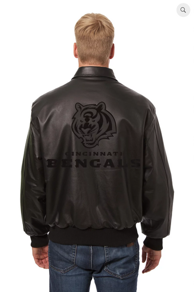 Cincinnati Bengals Hand Crafted Leather Tonal Jacket