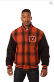 Cincinnati Bengals All Wool Plaid Jacket with Back Logo