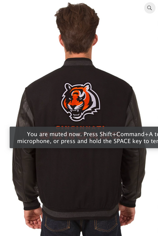 Cincinnati Bengals Reversible Varsity Jacket with Back Logo