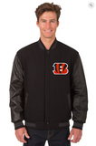 Cincinnati Bengals Reversible Wool & Leather Varsity Jacket