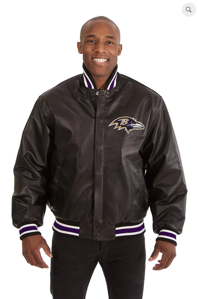 Baltimore Ravens Hand Crafted Leather Solid Team Jacket