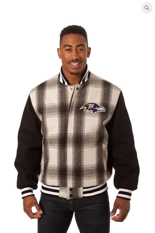 Baltimore Ravens All Wool Plaid Jacket with Back Logo