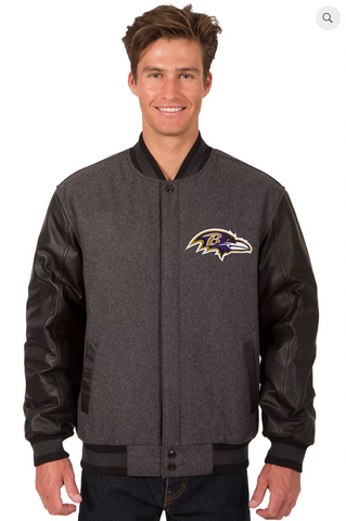 Baltimore Ravens Reversible Wool & Leather Varsity Jacket