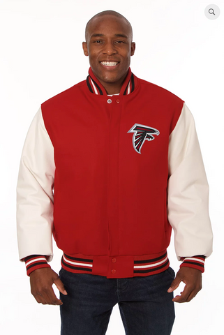 Atlanta Falcons Wool and Leather Varsity Jackets with Back Logo