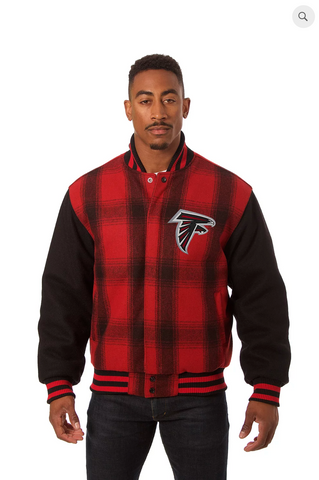 Atlanta Falcons All Wool Plaid Jacket with Back Logo