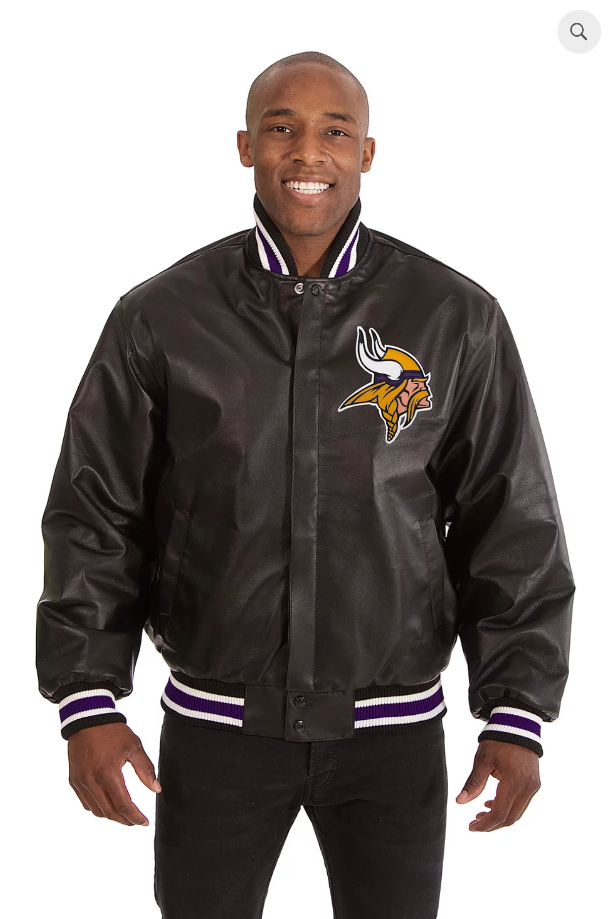 Minnesota Vikings Hand Crafted Leather Solid Team Jacket