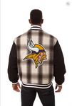 Minnesota Vikings All Wool Plaid Jacket with Back Logo