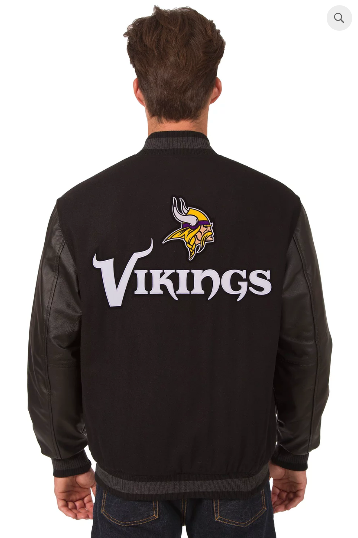 Minnesota Vikings Reversible Wool and Leather Varsity Jacket with Back Logo