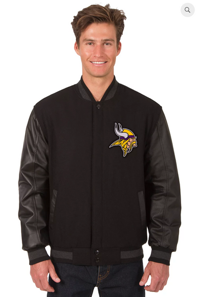 Minnesota Vikings Reversible Wool & Leather Varsity Jacket