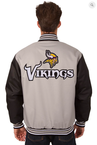 Minnesota Vikings Poly-Twill Varsity with Front & Back Logo