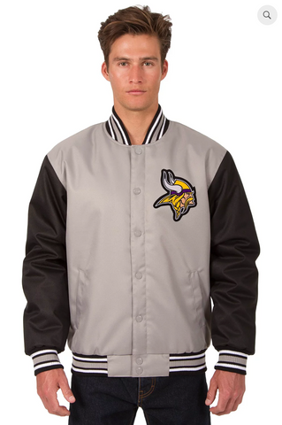 Minnesota Vikings Poly-Twill Varsity Jacket with Front Logo