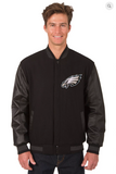 Philadelphia Eagles Reversible Wool & Leather Varsity Jacket