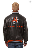 Cincinnati Bengals Hand Crafted Leather Solid Team Jacket
