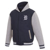 DETROIT TIGERS TWO-TONE REVERSIBLE FLEECE HOODED JACKET - NAVY/GRE