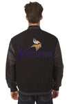Minnesota Vikings Reversible Wool and Leather Jacket (Front and Back Logos)