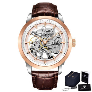 PAGANI DESIGN Skeleton Luxury Mens Watch - 3 Bar Waterproof with Leather Strap