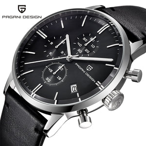 PAGANI DESIGN Luxury Mens Chronograph Watch with Leather Strap, Waterproof to 3 Bars