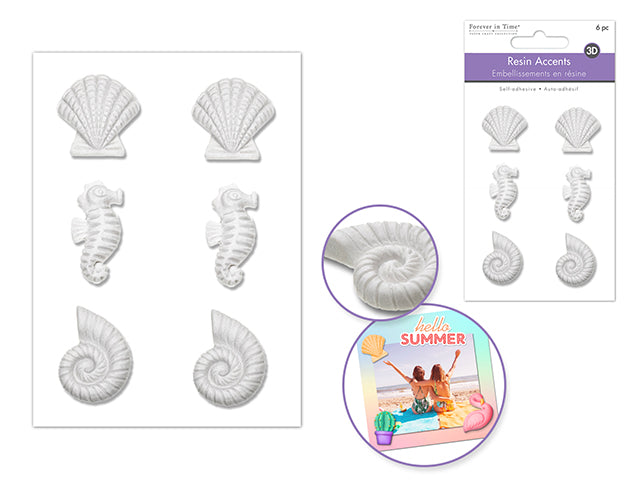 Paper Craft Emb: 3D Unpainted DIY Resin Accents x6pc Self-Stick A) Sea Life