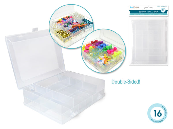 Craft Storage: 2-Sided 16-Compartment Beads&Trinkets Box 4.8x3.8x1.3""
