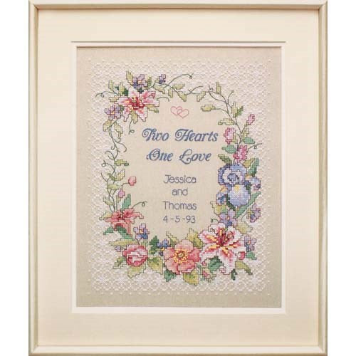 Dimensions Stamped Cross Stitch Kit - Two Hearts Wedding Record