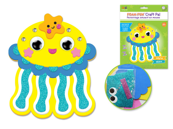 DIY Foam Friends Craft Kit Peel-n-Stick - O) Jellyfish