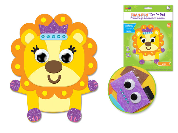 DIY Foam Friends Craft Kit Peel-n-Stick - T) Lion