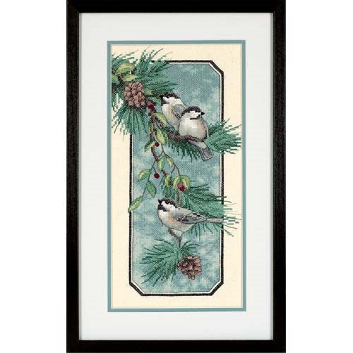 Chickadees on a Branch, Stamped Cross Stitch