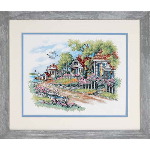 Dimensions Stamped Cross Stitch Kit - Cottages by the Sea